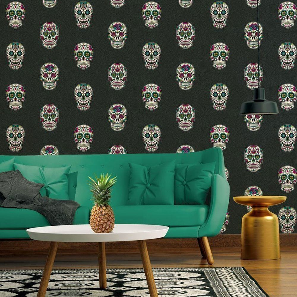 Gothic Skull Wallpaper Floral Flowers Textured Embossed Vinyl AS Creation