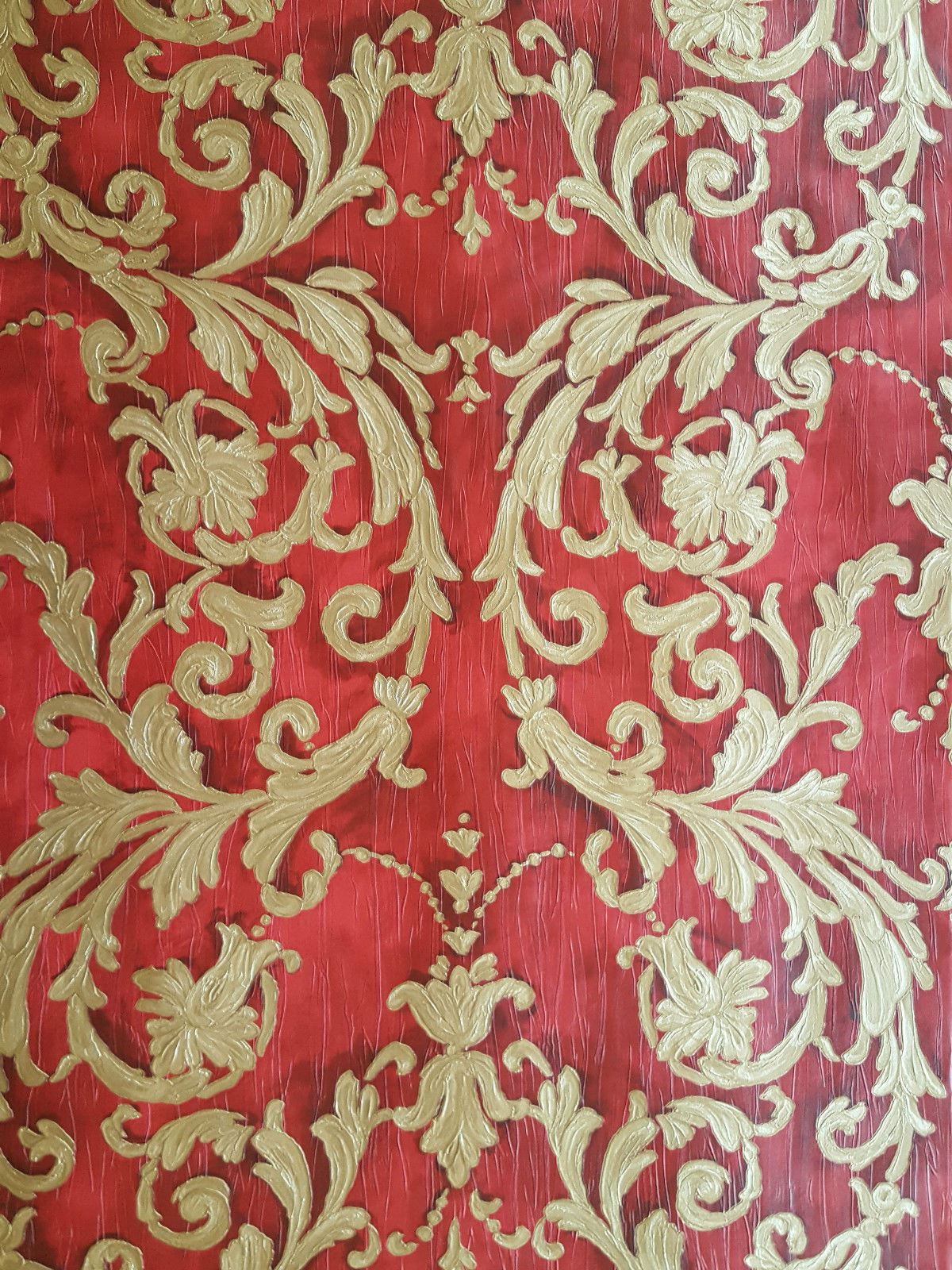 Damask Wallpaper Classic Traditional Red Gold Textured Paste The Wall