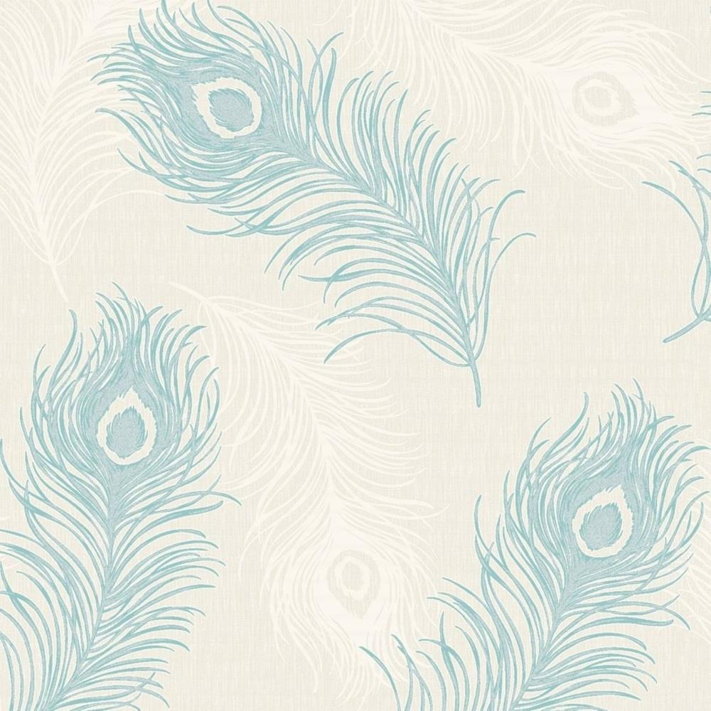 VIOLA PEACOCK FEATHER TEXTURED VINYL WALLPAPER TEAL CREAM 40914 DEBONA GLITTER