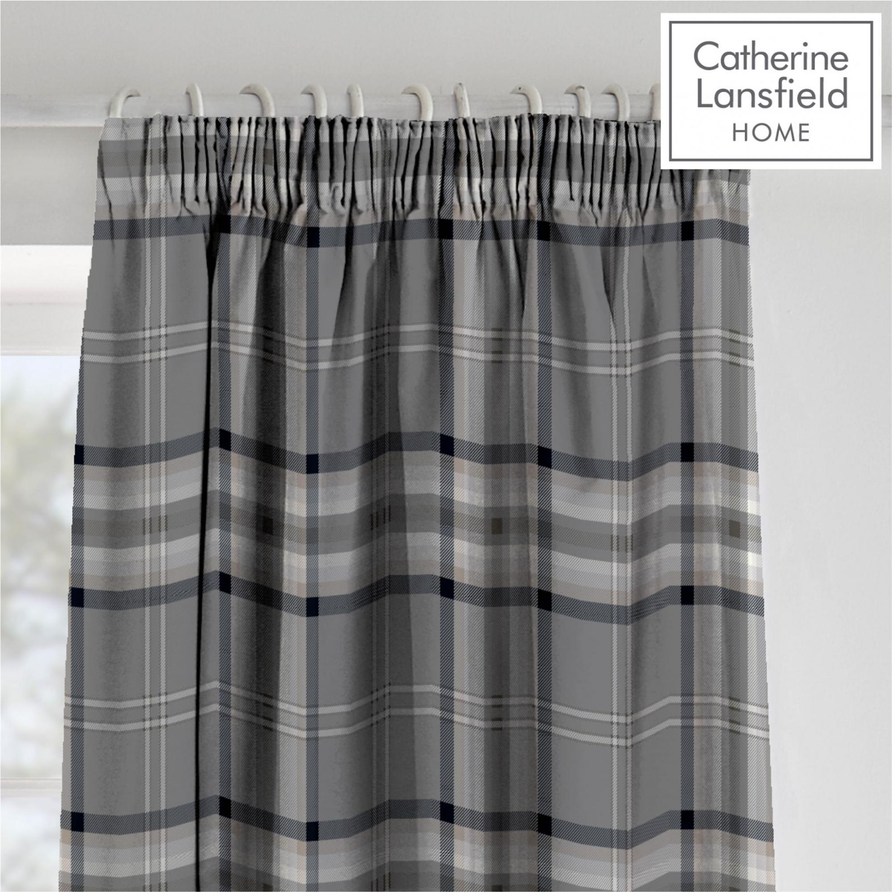 Catherine-Lansfield-Duvet-Set-Reversible-Check-Bedding-Charcoal-Pillows-Curtain thumbnail 4