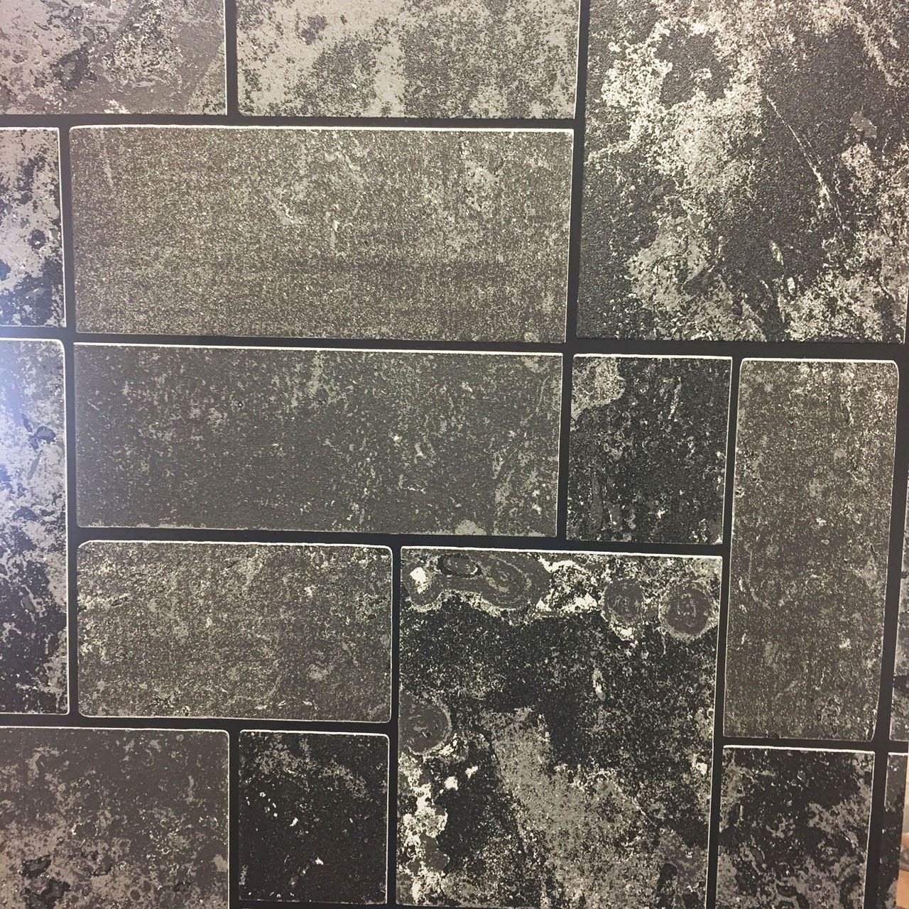 Details About Black Glitter Brick Slate Stone Wallpaper Tile Kitchen Bathroom Textured Vinyl
