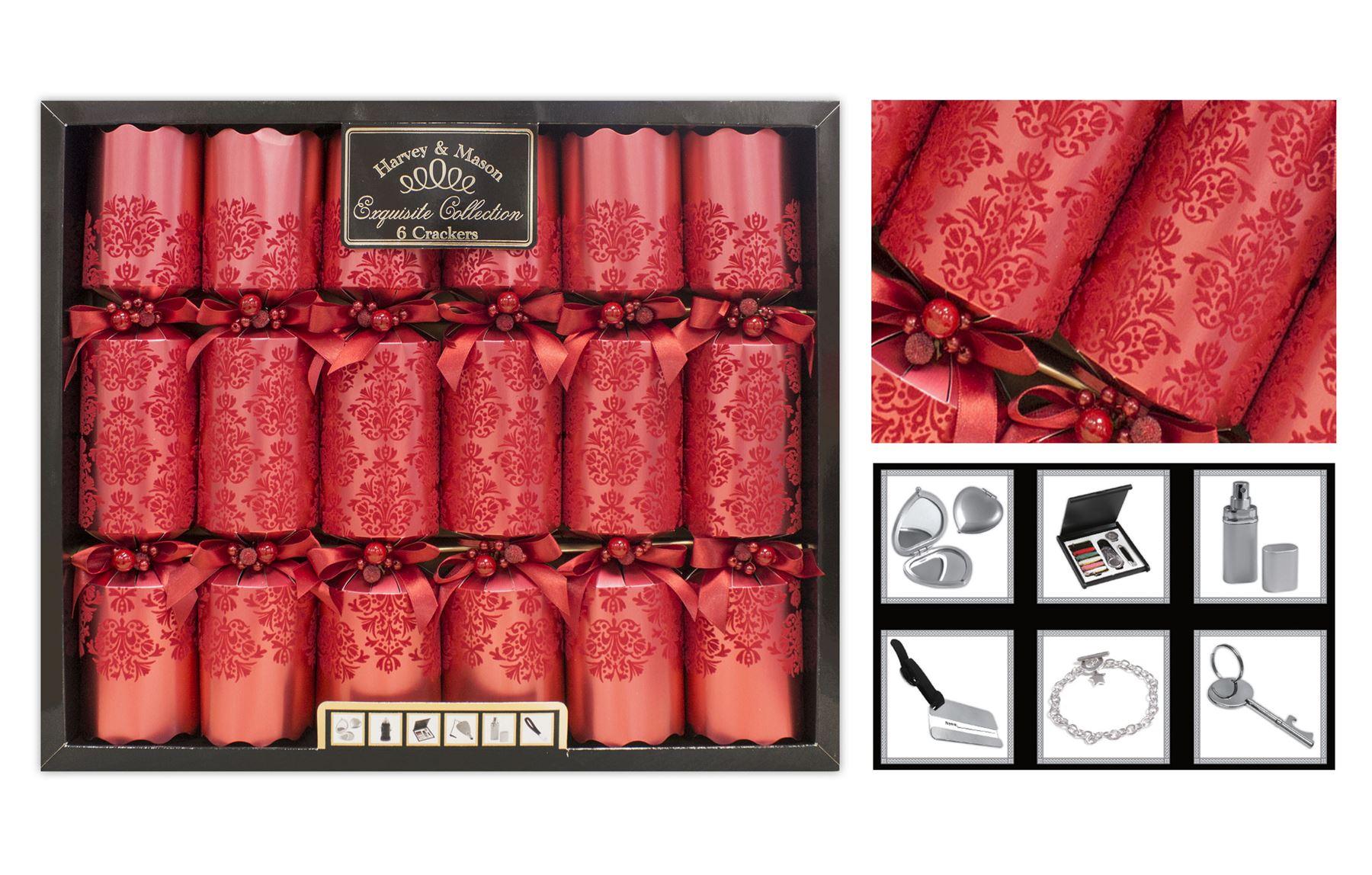 Christmas-Crackers-Box-of-6-Luxury-Exquisite-Range-Harvey-Mason-13-5-039-Barrelled