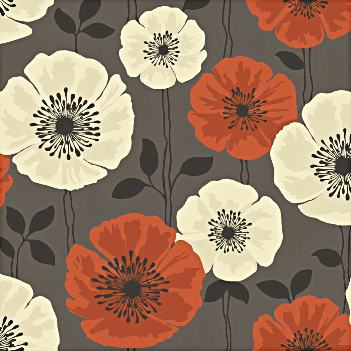 Floral Poppies Wallpaper Leaves Flowers Poppy Brown Orange Cream