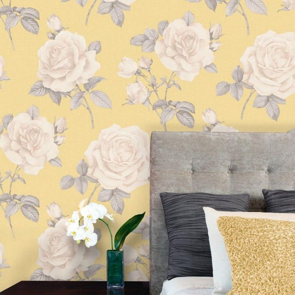 Flower Floral Roses Wallpaper Yellow Grey Beige Hessian Linen Effect Textured