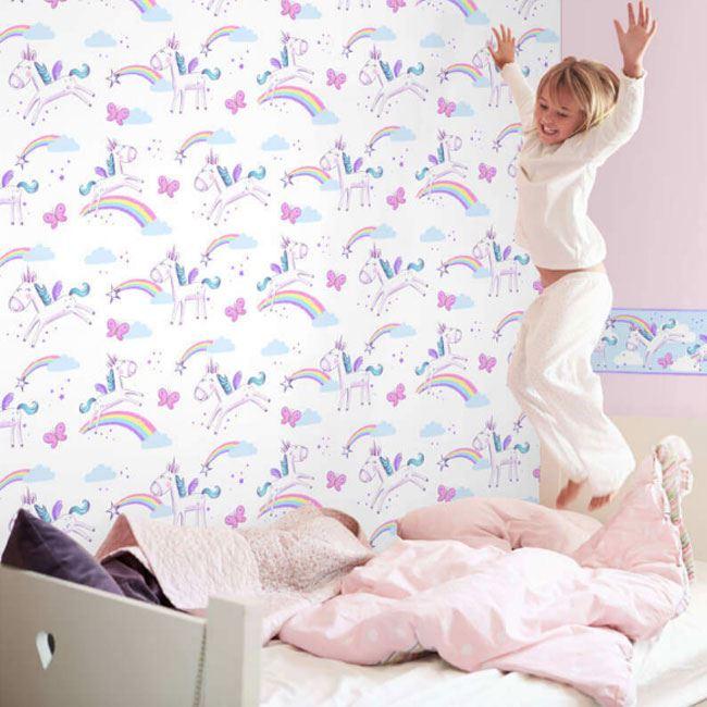 Girls-Unicorn-Wallpaper-Children-039-s-Pink-White-Glitter-Rainbow-Butterflies-Floral thumbnail 39