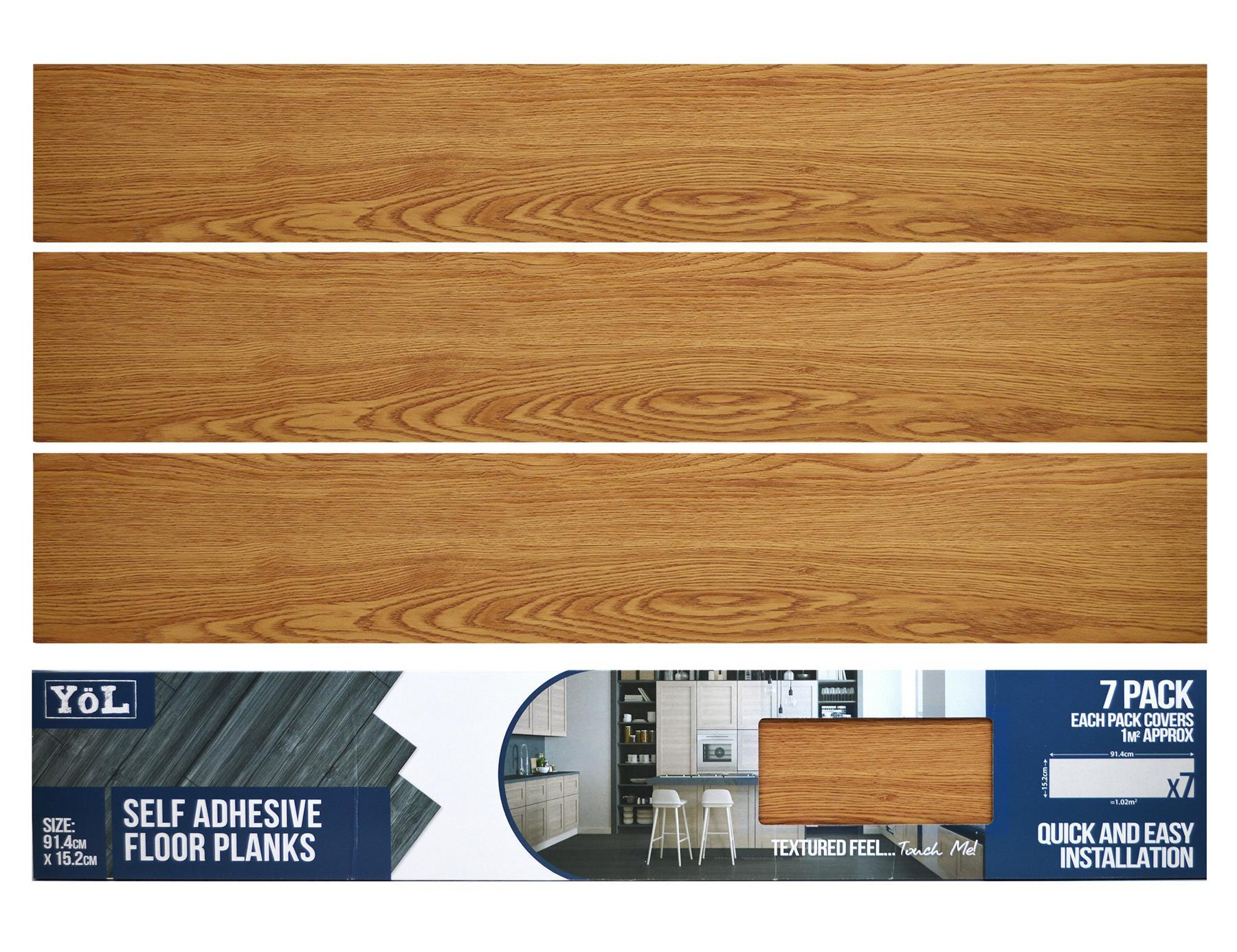 thumbnail 2 - Floor Planks Tiles Self Adhesive Vinyl Brown Wood Flooring Kitchen Bathroom