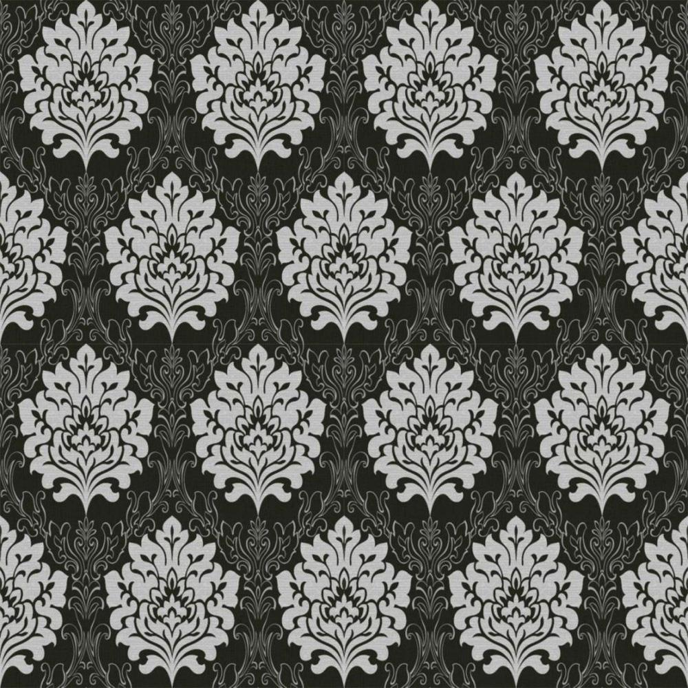 Details About Damask Wallpaper Black Grey Silver Metallic Fabric Effect Embossed Textured