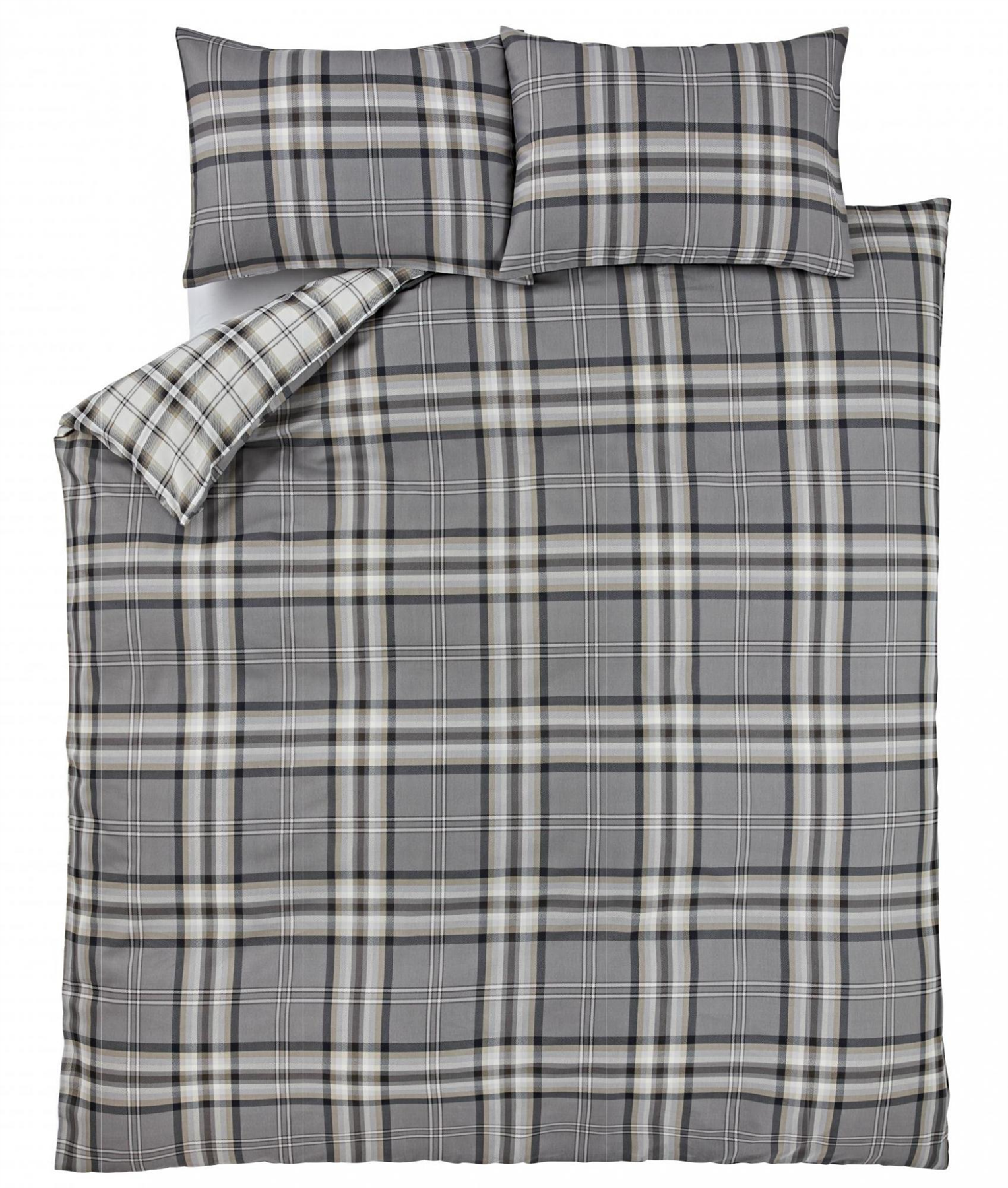 Catherine-Lansfield-Duvet-Set-Reversible-Check-Bedding-Charcoal-Pillows-Curtain thumbnail 9