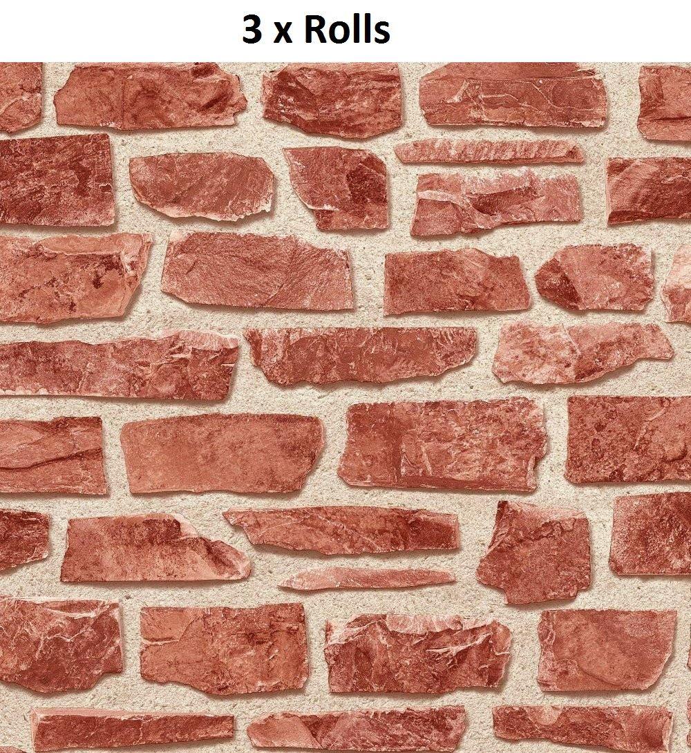 3 X Red Brick Slate Stone Wallpaper Rustic Weathered ...