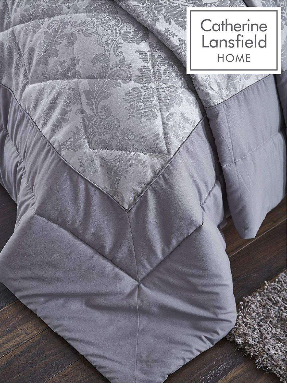thumbnail 4 - Catherine Lansfield Damask Jacquard Silver Duvet Set Reversible Bedding Curtain