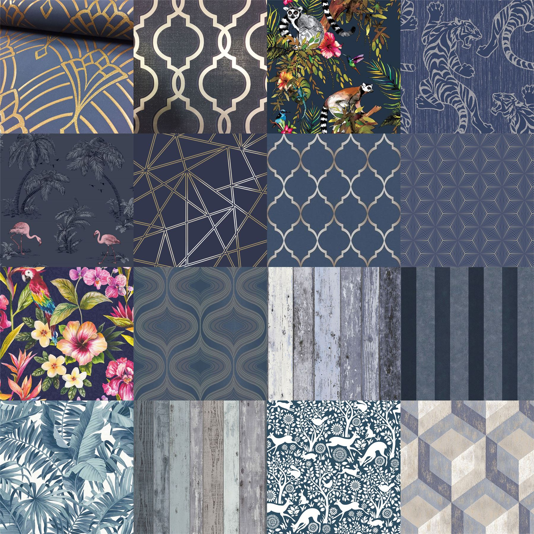 Details About Mixed Range Of Blue Navy Wallpaper Various Designs Patterns Luxury Modern