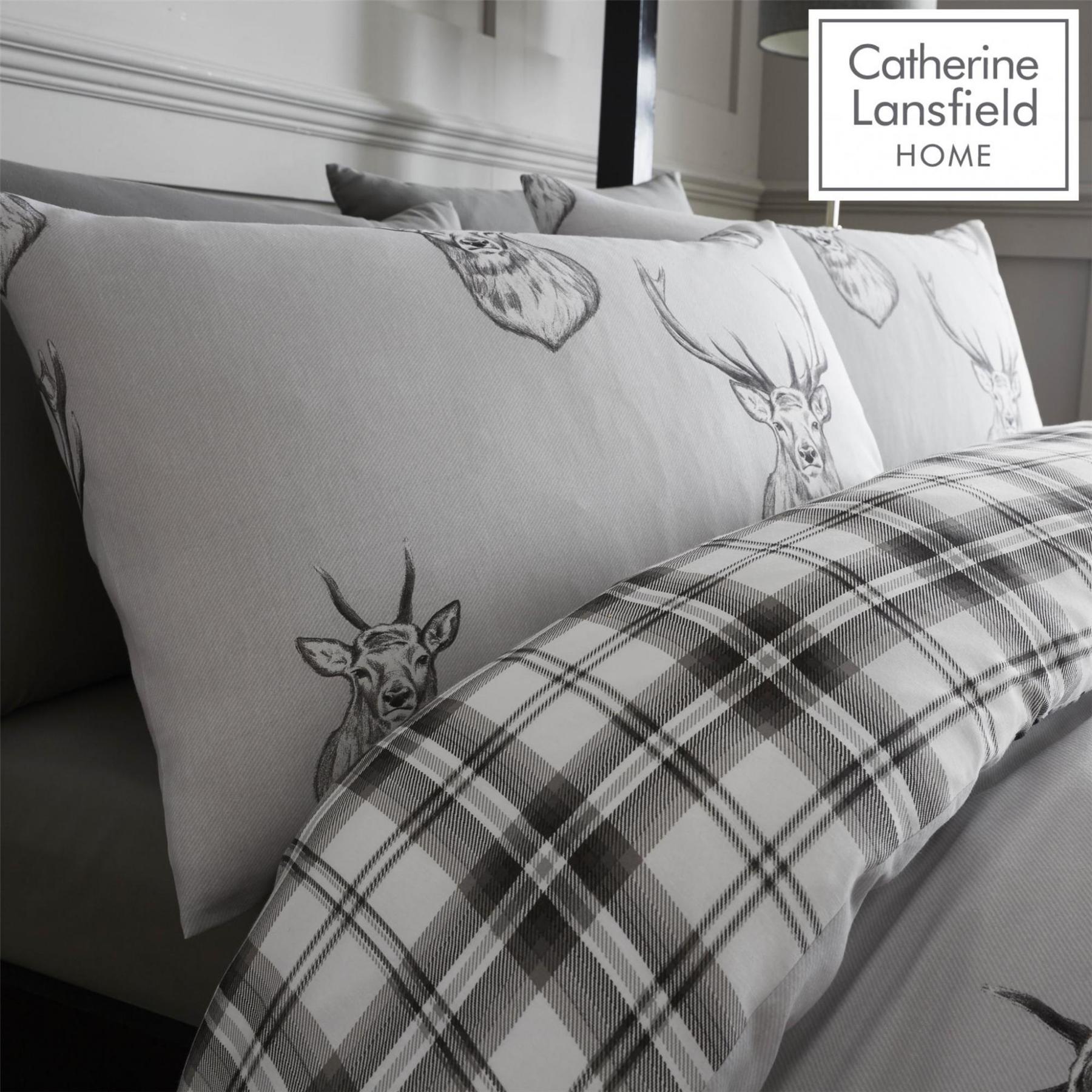 Catherine-Lansfield-Duvet-Set-Highland-Stag-Reversible-Check-Bedding-Grey thumbnail 24
