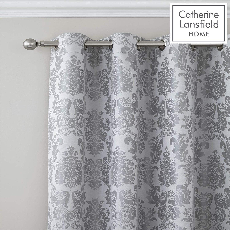 thumbnail 8 - Catherine Lansfield Damask Jacquard Silver Duvet Set Reversible Bedding Curtain