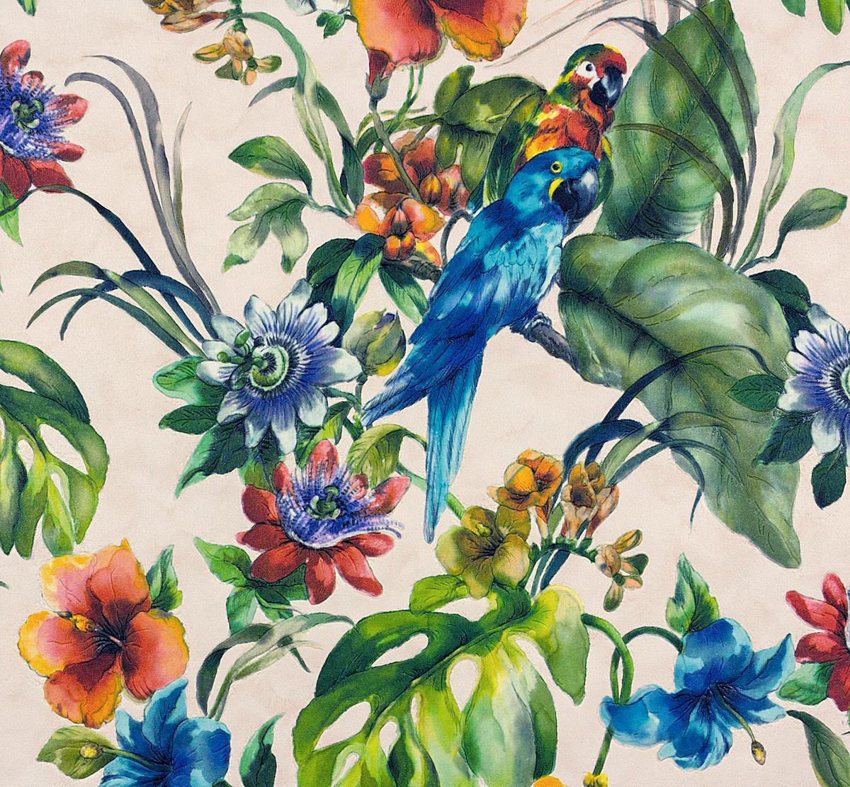 Exotic Bird Parrot Tropical Flowers Wallpaper Vinyl Floral Green