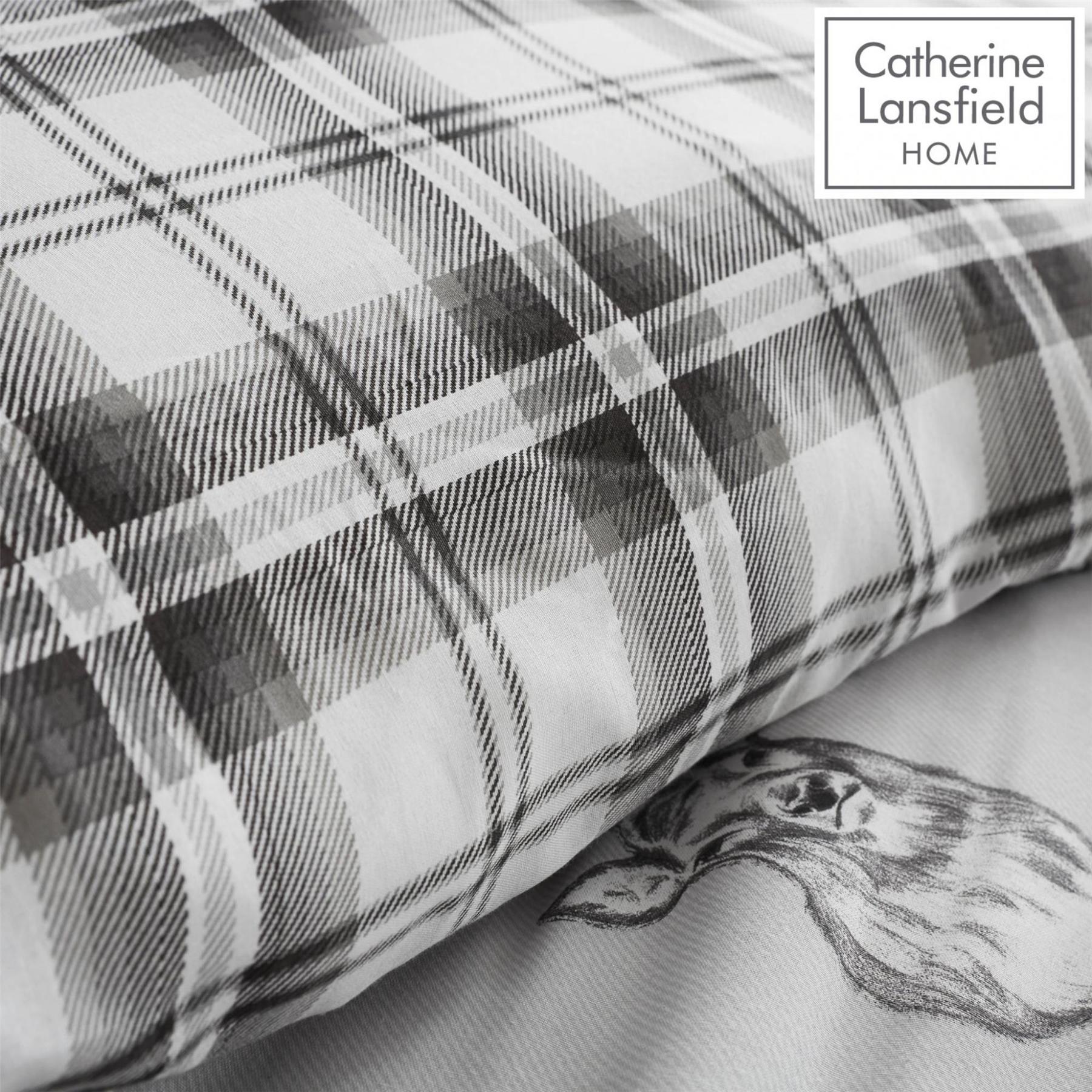 Catherine-Lansfield-Duvet-Set-Highland-Stag-Reversible-Check-Bedding-Grey thumbnail 28