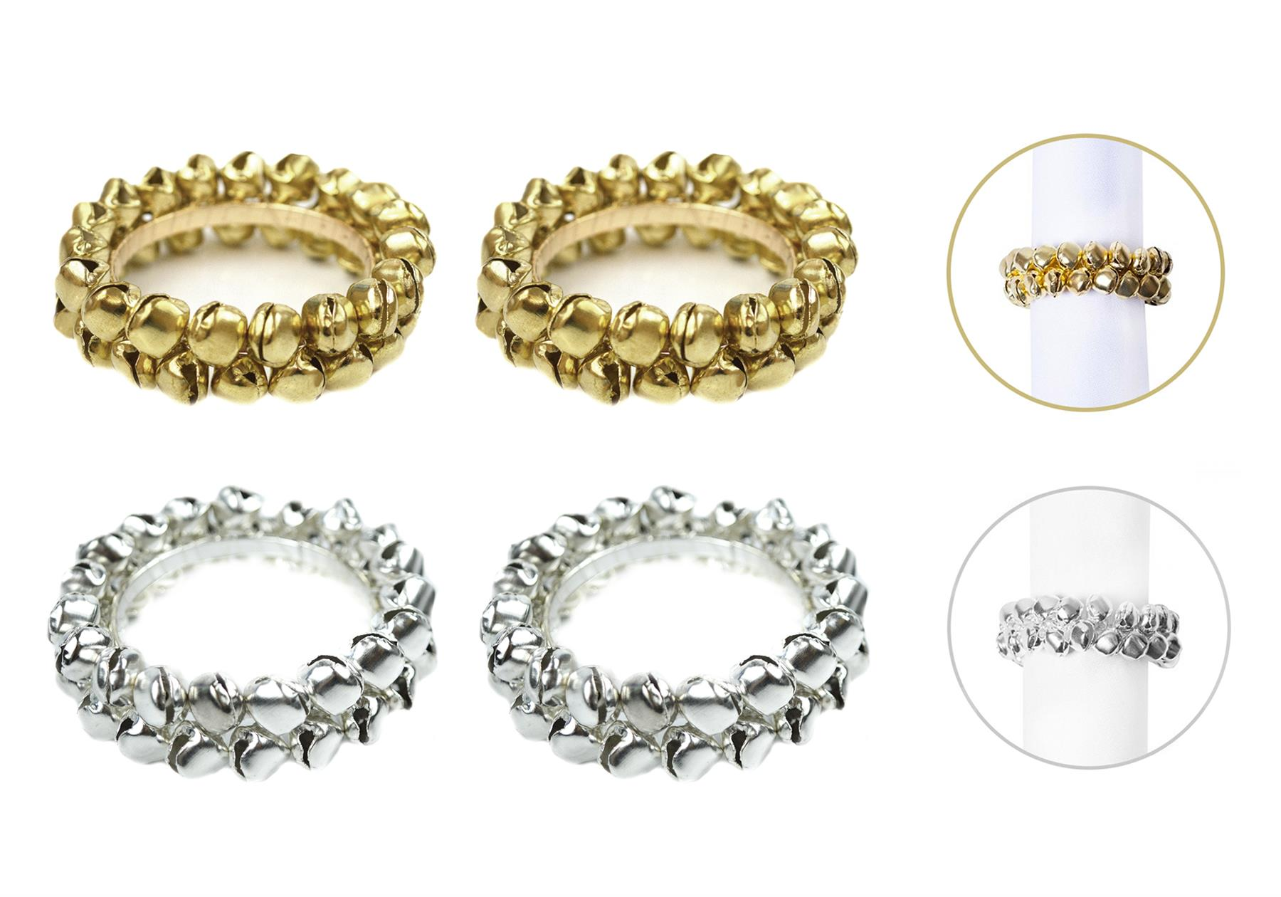 Napkin Rings Set Of 6 Gold Silver Napkin Holders Xmas Party Tableware Serviette Ebay