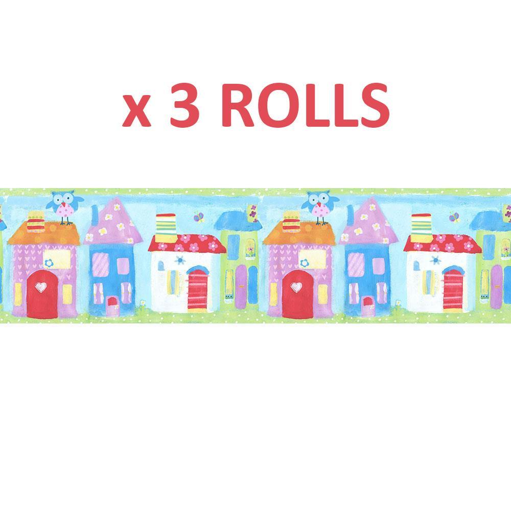 3 Rolls Kids Town House Wallpaper Border Owls Blue Green ...