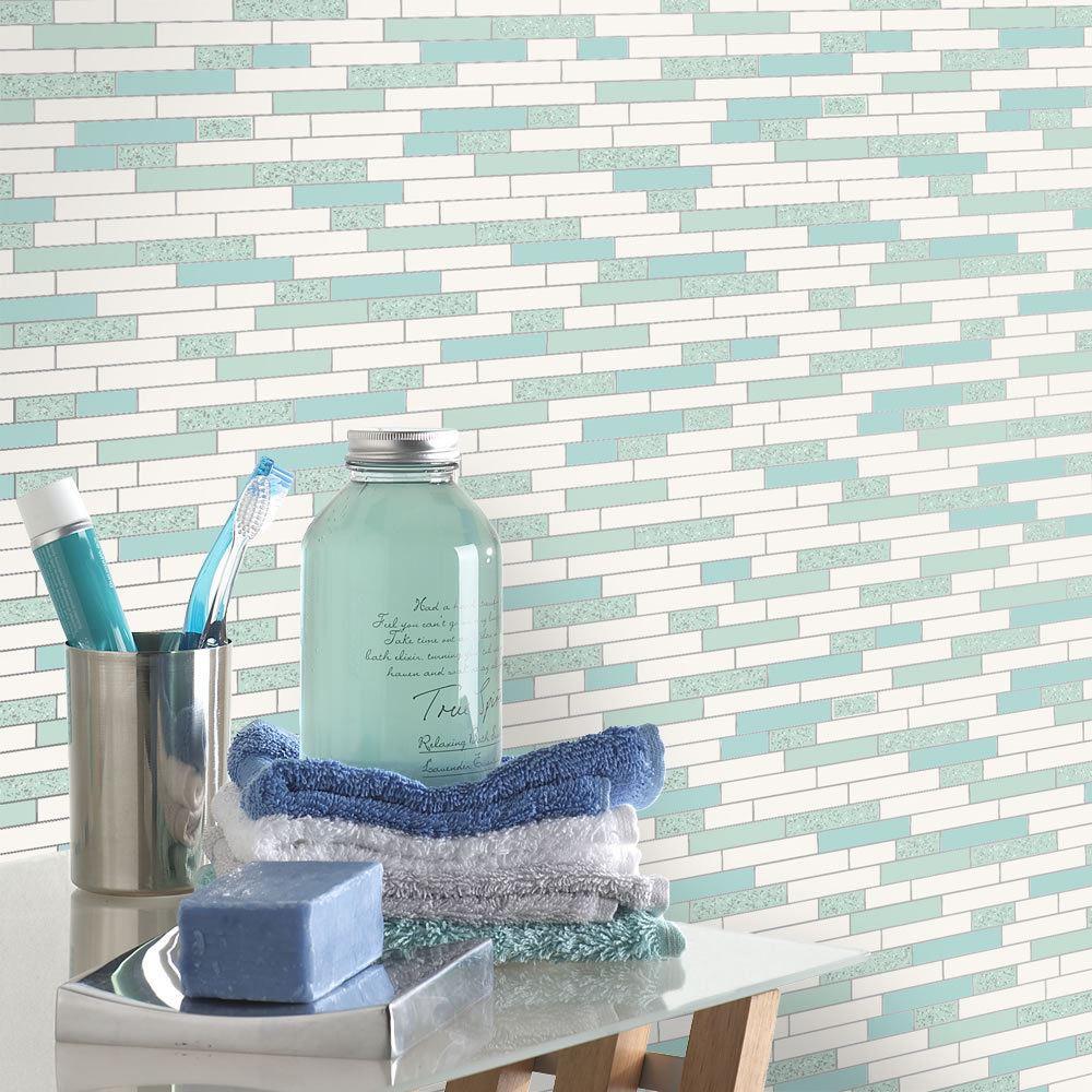 Oblong-Stone-Tile-Kitchen-Bathroom-Wallpaper-Vinyl-Silver-Glitter-Holden-Decor thumbnail 19