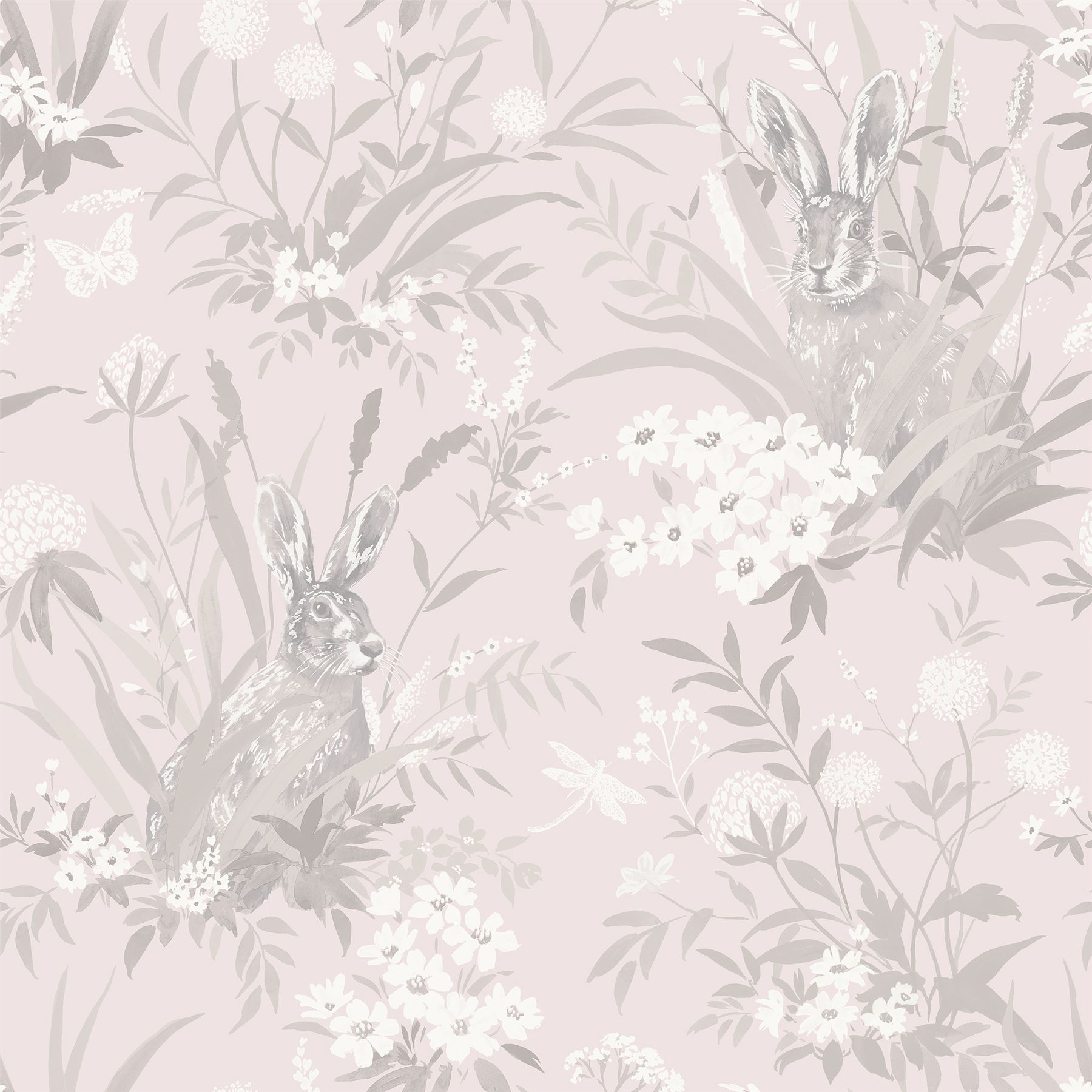 Aayla Pink Hares Wallpaper Woodland Rabbits 90880