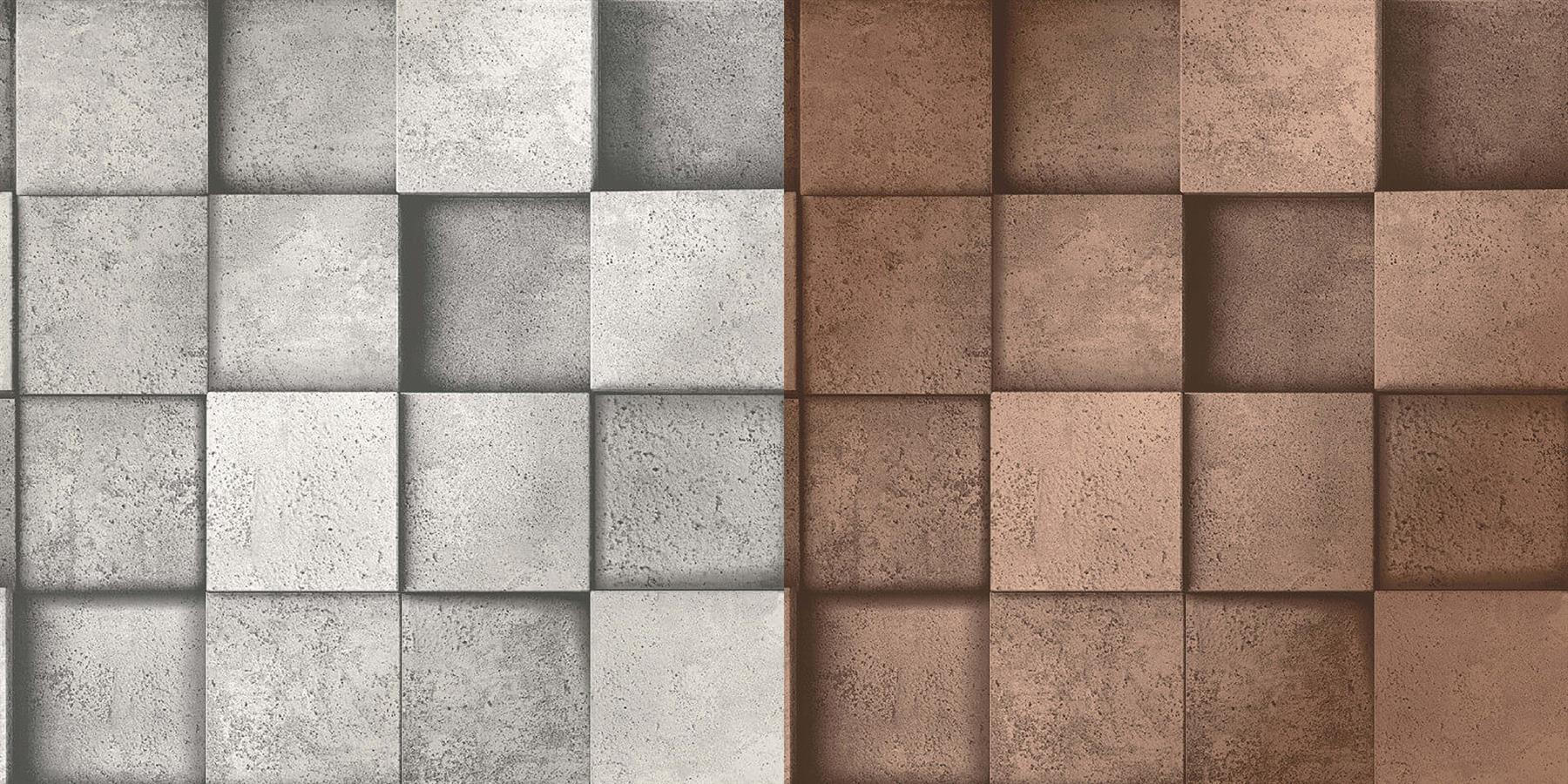 3D Effect Square Stone Silver Grey ...