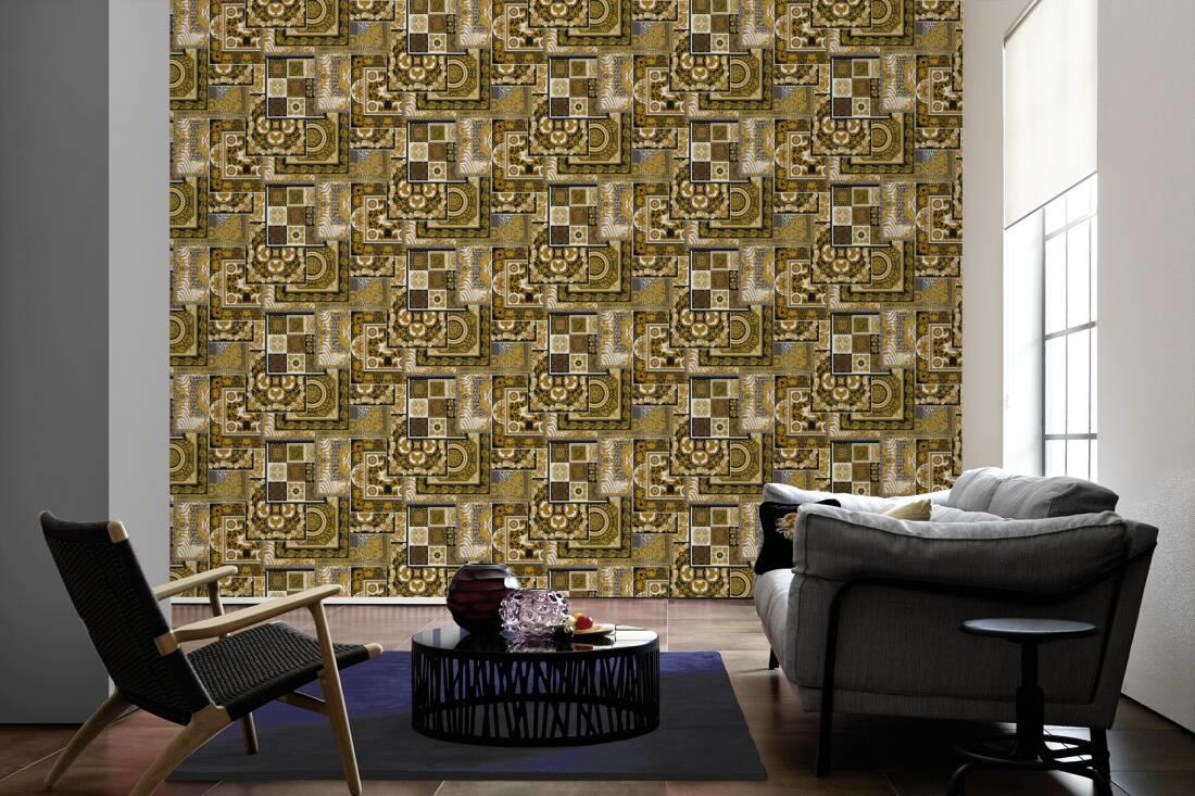 Versace Decoupage Cream Gold Wallpaper Baroque Ornament Metallic Paste Wall