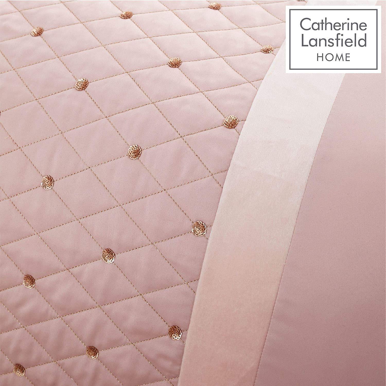 Catherine-Lansfield-lentejuelas-Cluster-Blush-Conjunto-de-Edredon-Reversible-Ropa-De-Cama-Cortina miniatura 8