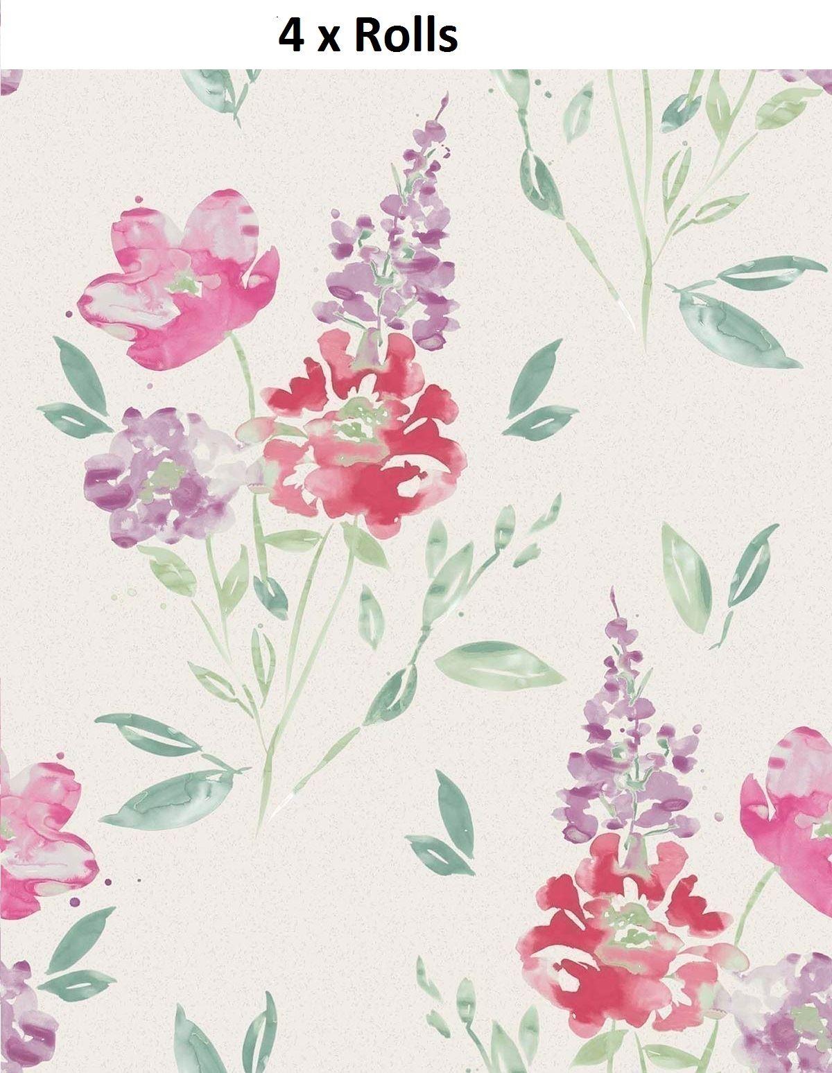 4 X Flower Wallpaper Floral Abstract Watercolour Glitter Vinyl