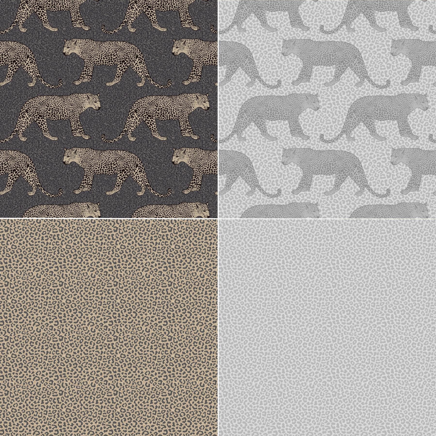 Details About Silver Grey Gold Black Leopard Wallpaper Metallic Shimmer Animal Print Rasch