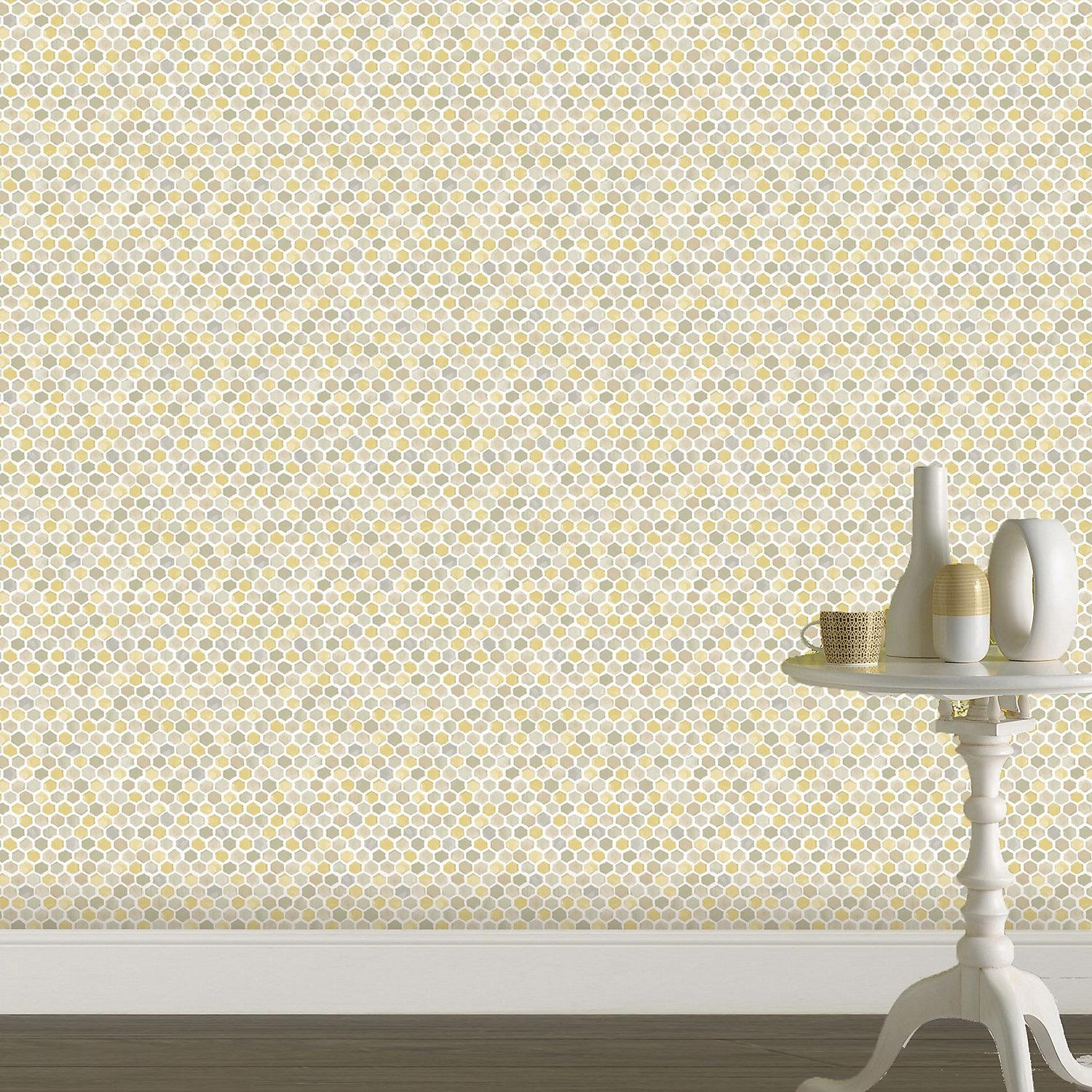 Yellow 3D Geometric Honeycomb Hexagon Wallpaper Modern Grey Beige White Holden