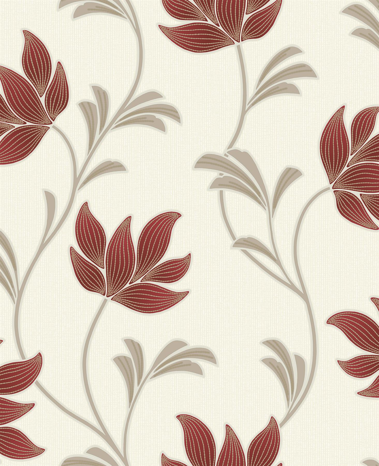 Floral Glitter Textured Wallpaper Red Gold Cream Beige Embossed