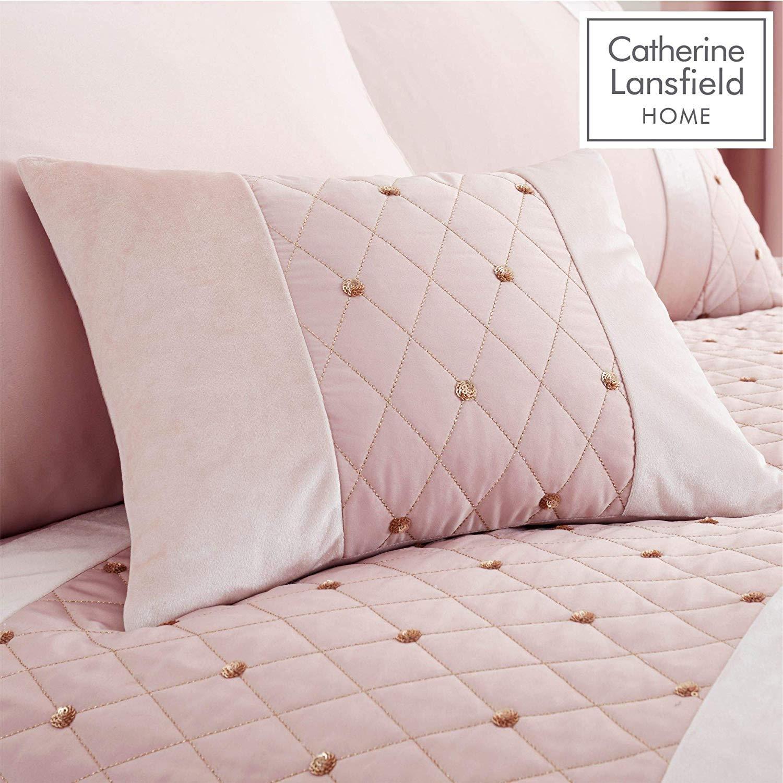 Catherine-Lansfield-lentejuelas-Cluster-Blush-Conjunto-de-Edredon-Reversible-Ropa-De-Cama-Cortina miniatura 14