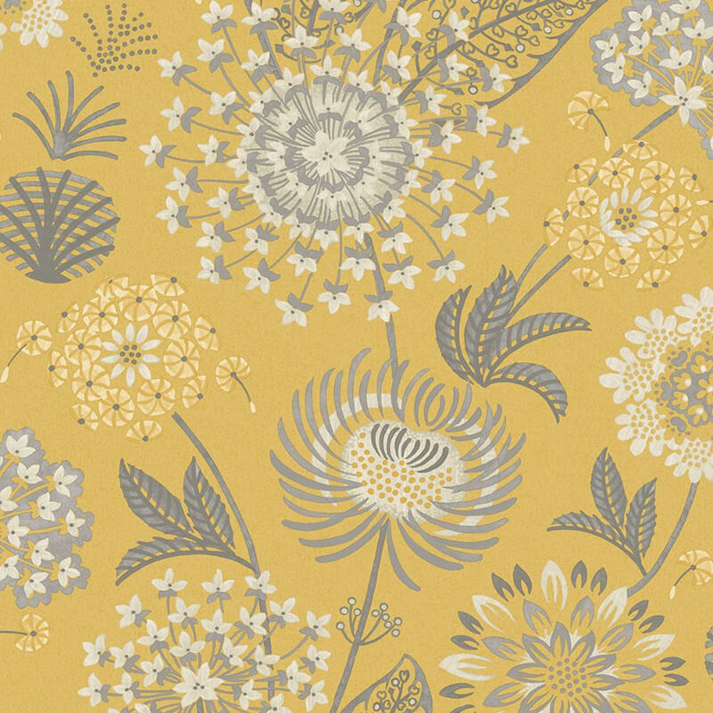 Arthouse Vintage Bloom Floral Wallpaper Retro Flower Mustard