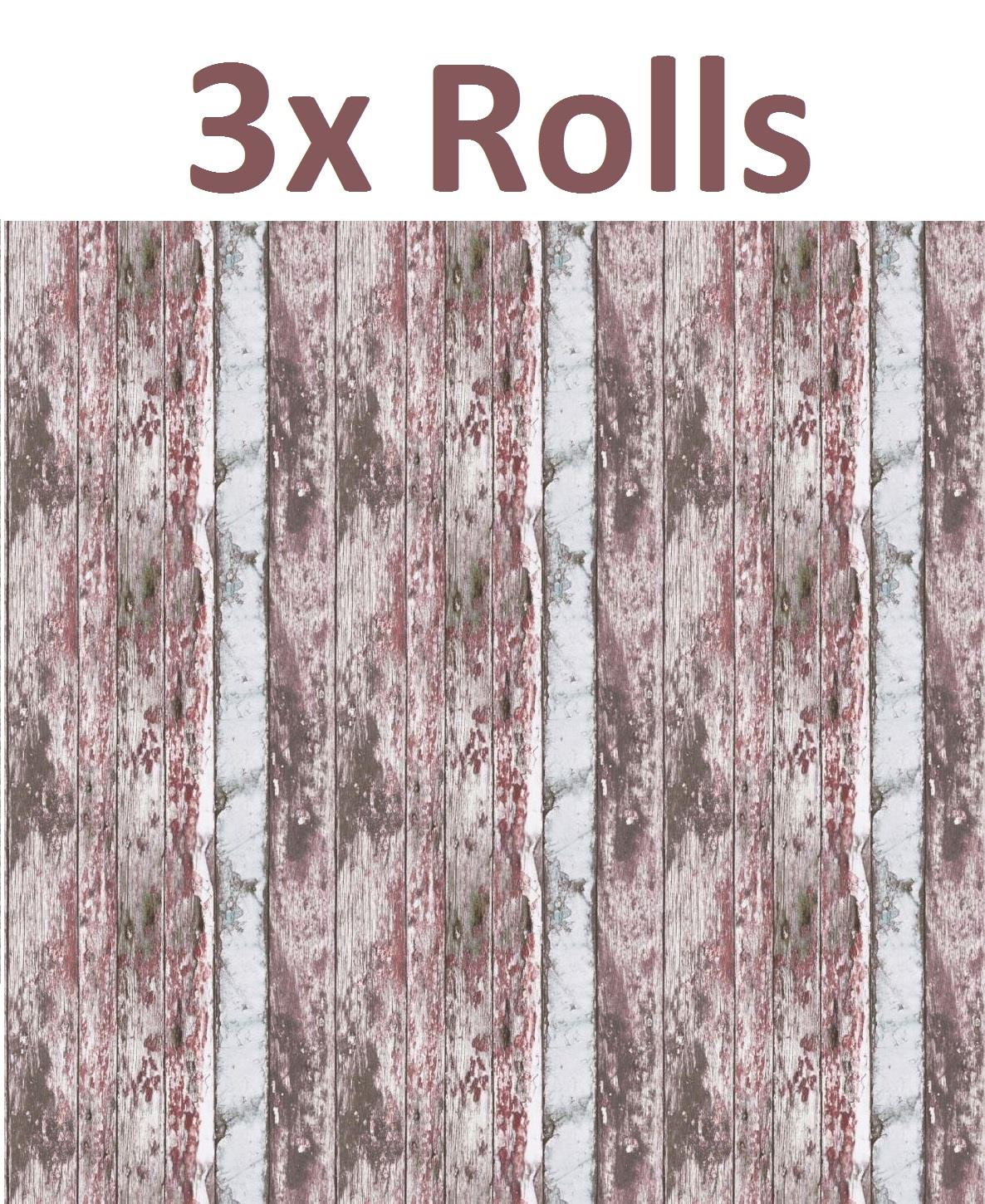 Painted-Rustic-Wood-Wallpaper-Distressed-Red-White-Textured-Vinyl-3-x-Rolls