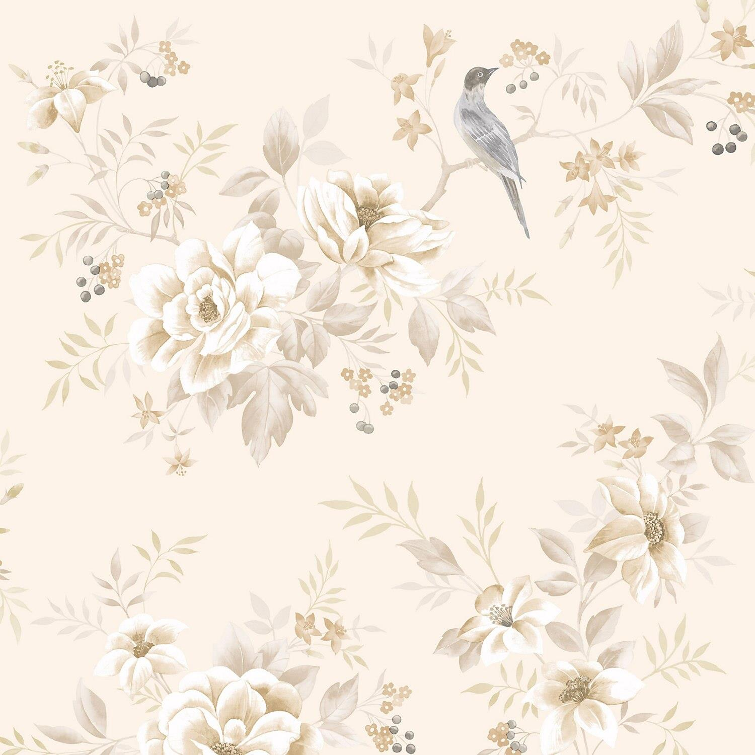 Fine Decor Liora Natural Cream Beige Floral Glitter Wallpaper Leaf
