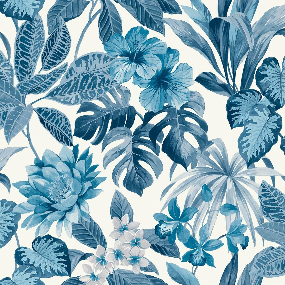 Tropica Rainforest Palm Leaf Floral Wallpaper Flower Blue White