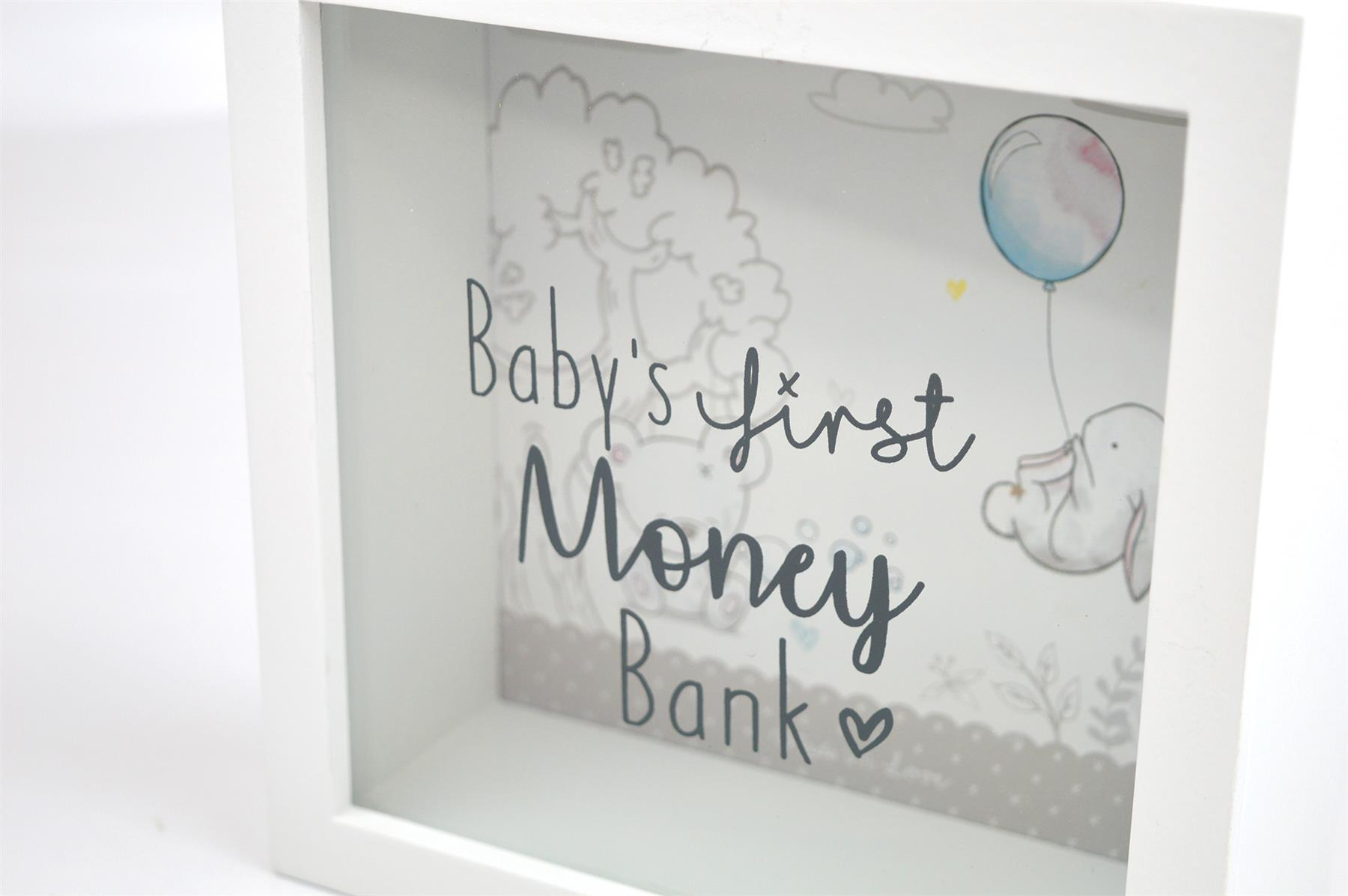 Baby First Money Bank Piggy Box Glass Wood Bunny Animals Quote White Unisex