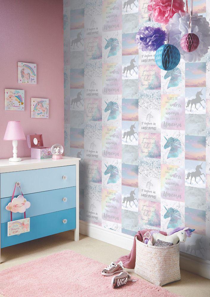 Girls-Unicorn-Wallpaper-Children-039-s-Pink-White-Glitter-Rainbow-Butterflies-Floral thumbnail 25