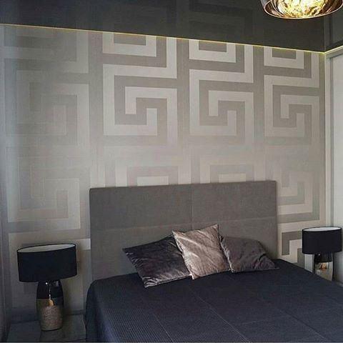 Silver Versace Wallpaper Border Luxury Satin Modern Greek Key Gold