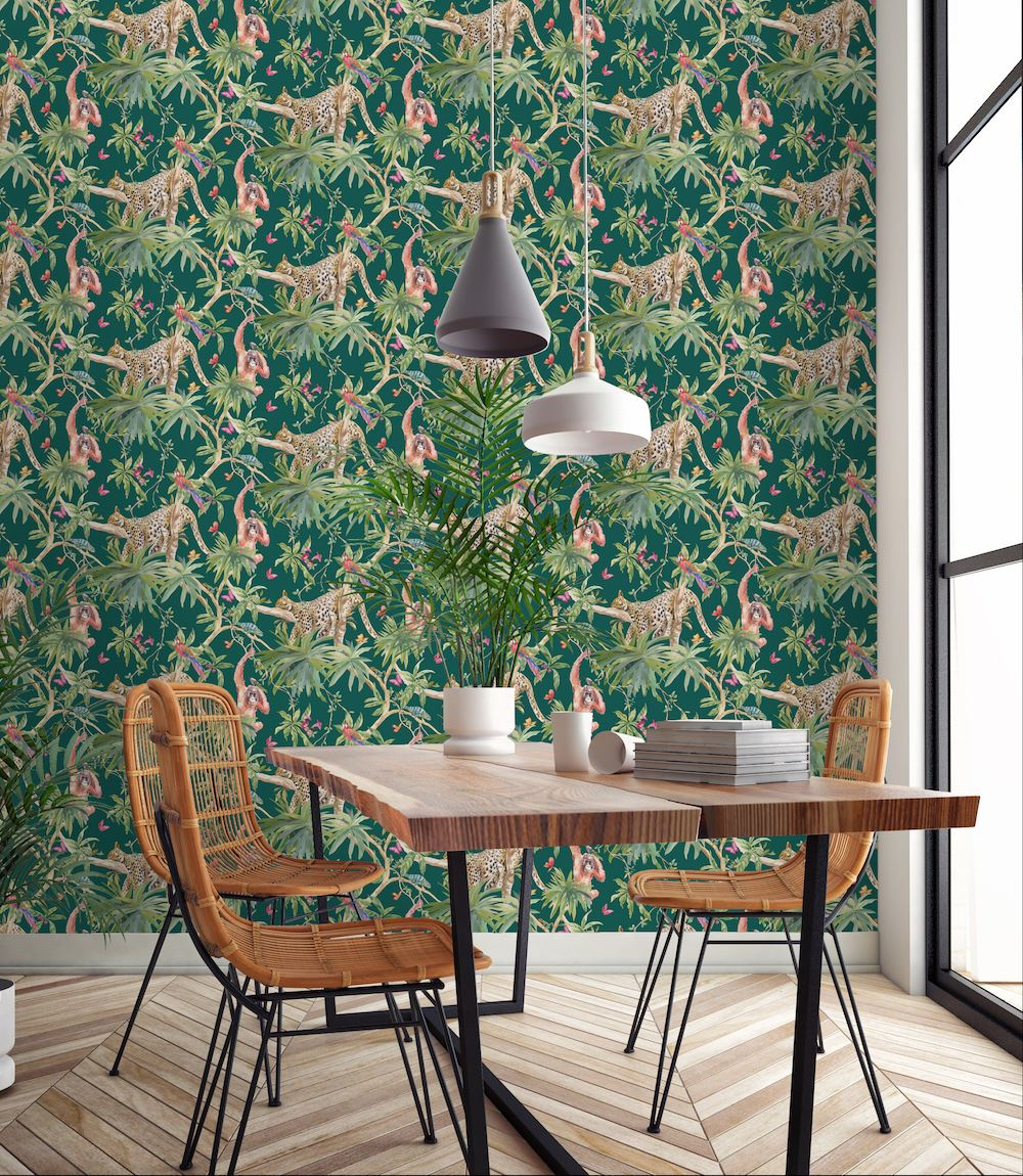 Green Leaf Birds Tropical Wallpaper Jungle Animal Print