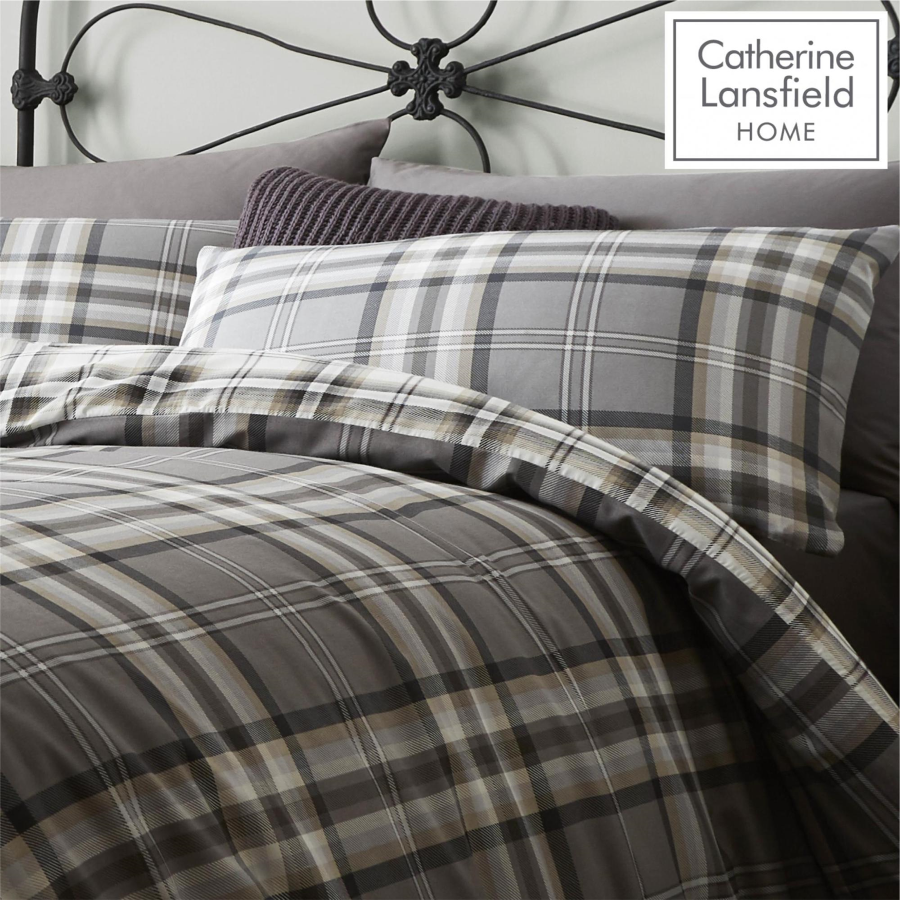 Catherine-Lansfield-Duvet-Set-Reversible-Check-Bedding-Charcoal-Pillows-Curtain thumbnail 7