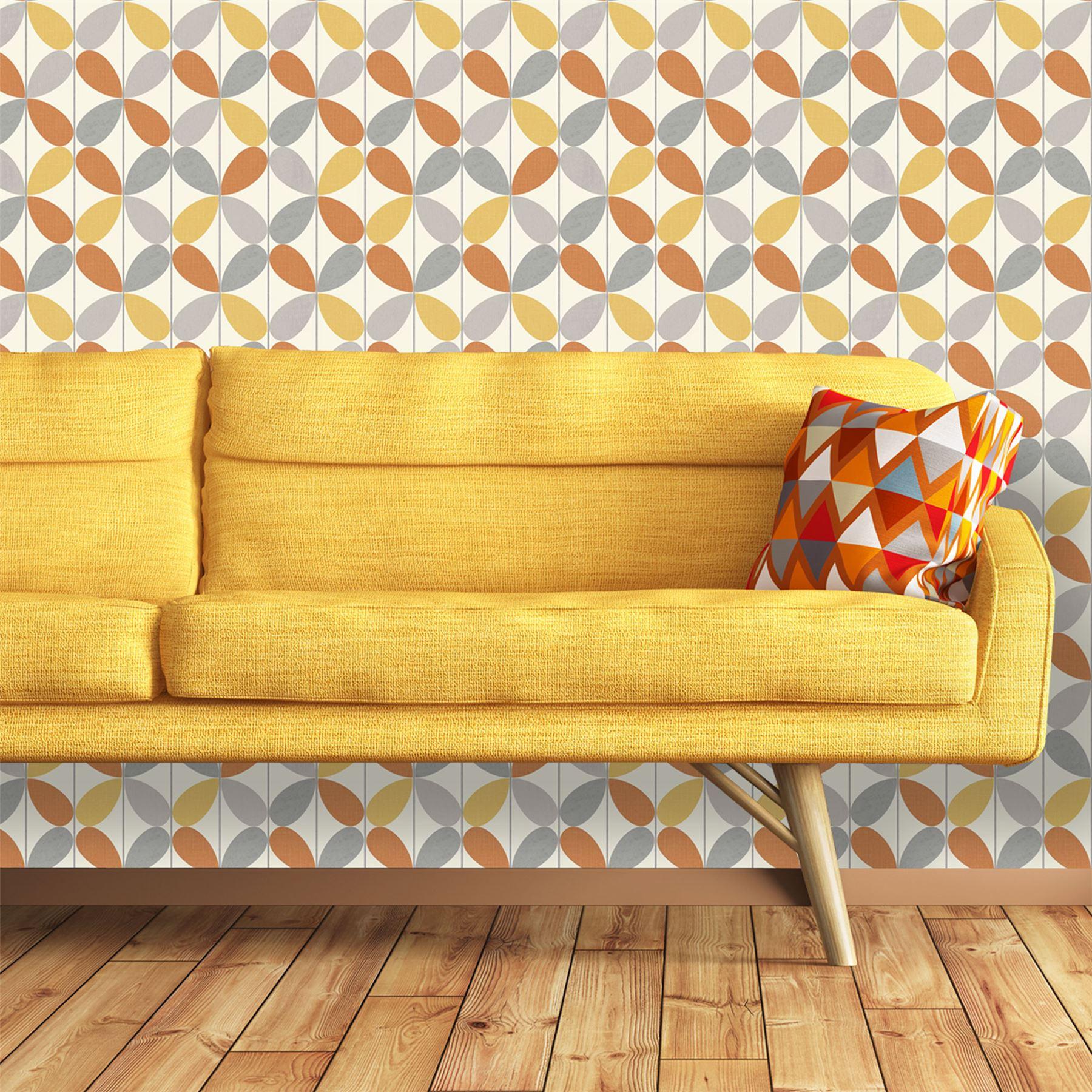 Detalles De Fondo De Pantalla Retro Geométrico Vintage Funky Audaz Vibrante Naranja Amarillo Arthouse Ver Título Original