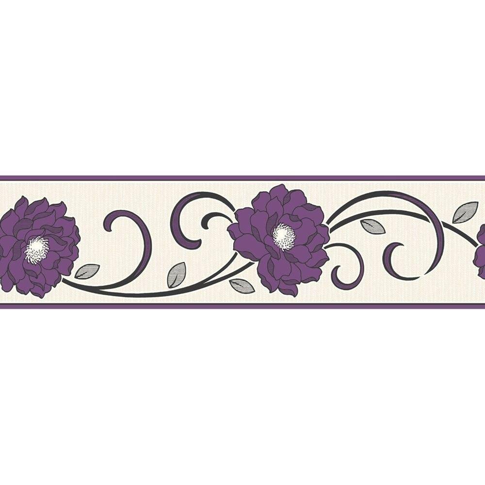 Details About Flower Wallpaper Border Floral Textured Vinyl Florentina Fine Decor Purple