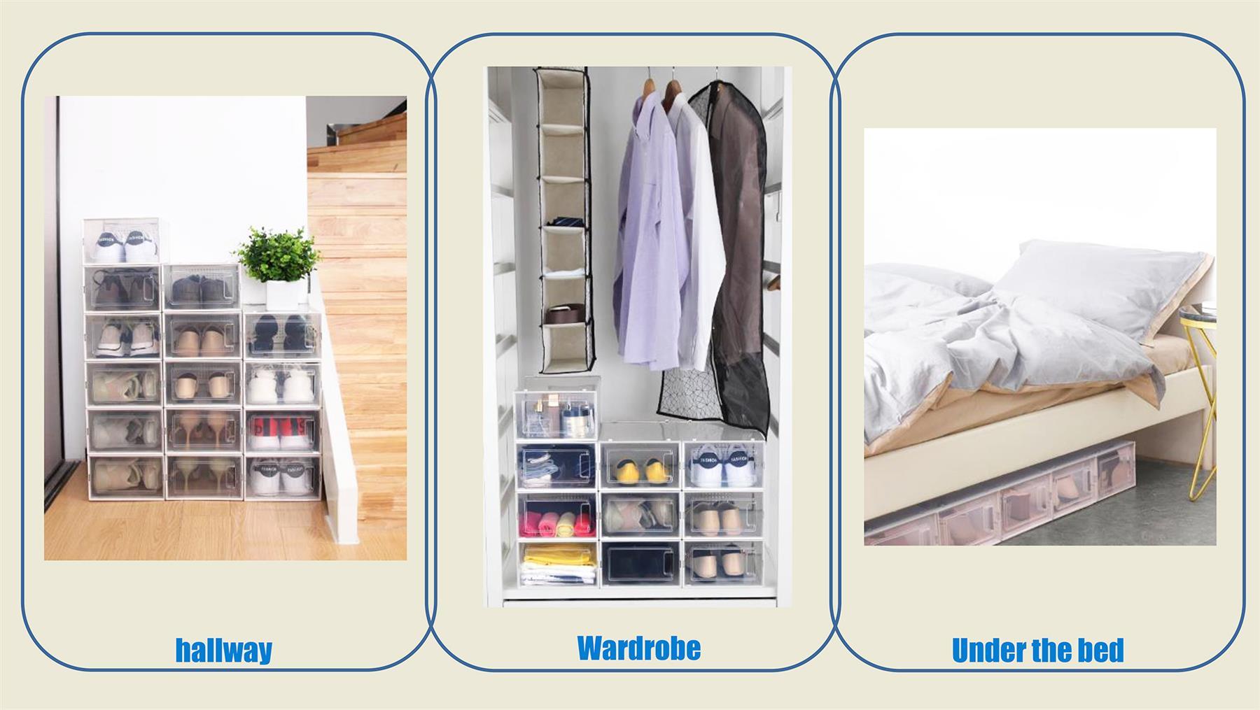 UK Stackable Shoe Box 8pcs Stacking Shoe Box Home Storage Click Shoe Organiser