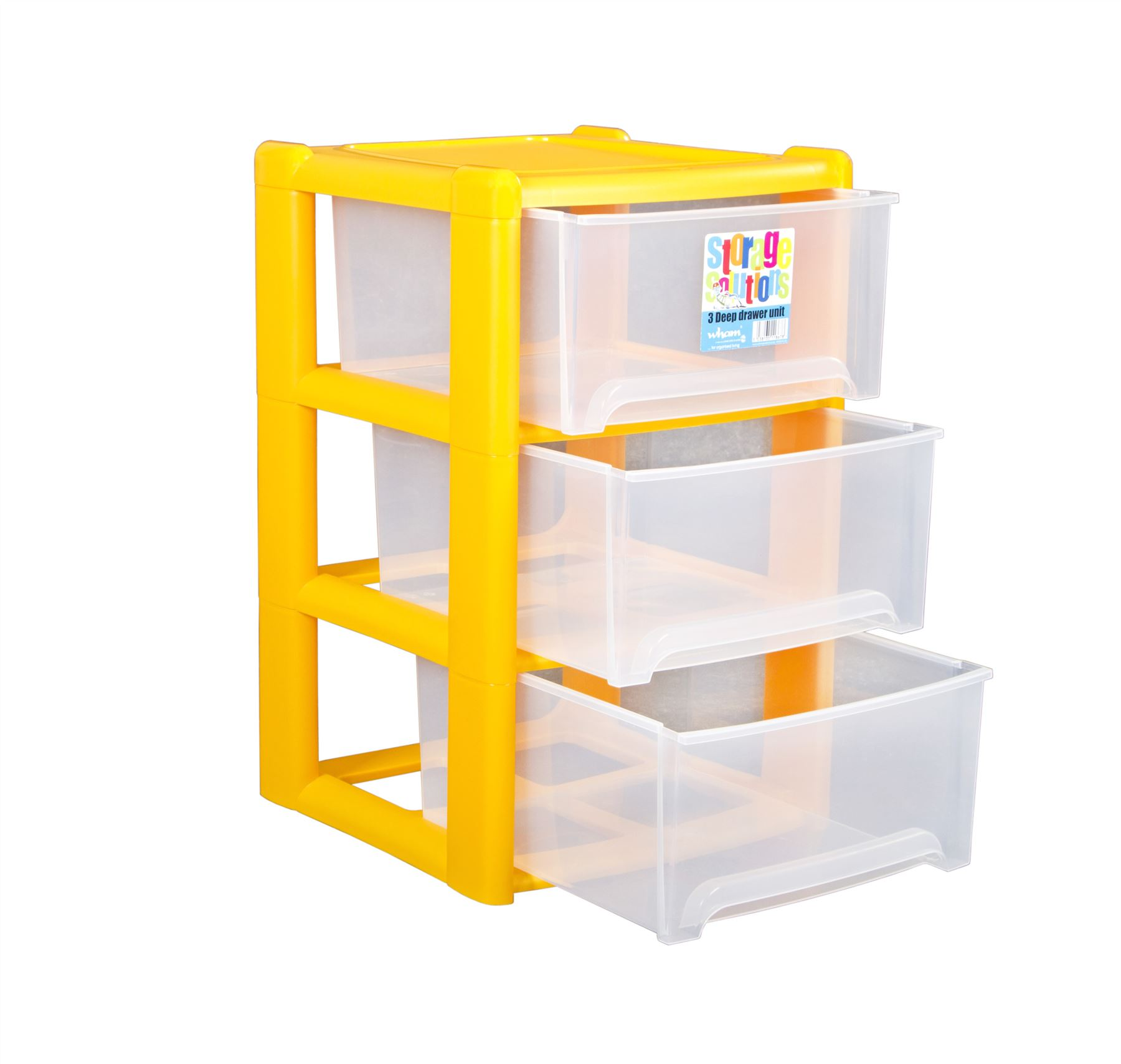 Plastic Deep 3 Drawer A4 Tower Storage Unit W Rear Wheels