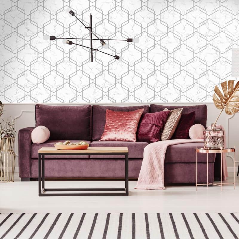 Geometric-Wallpaper-Metallic-Smooth-Textured-Apex-Triangles-Trellis-Diamonds thumbnail 47