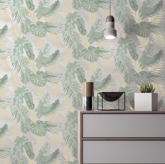 Arthouse-Soft-Tropical-Palm-Leaves-Vinyl-Textured-Wallpaper-10m-Rolls thumbnail 5