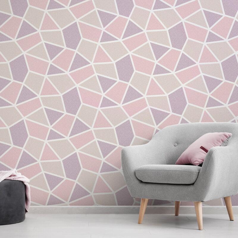 Geometric-Wallpaper-Metallic-Smooth-Textured-Apex-Triangles-Trellis-Diamonds thumbnail 51