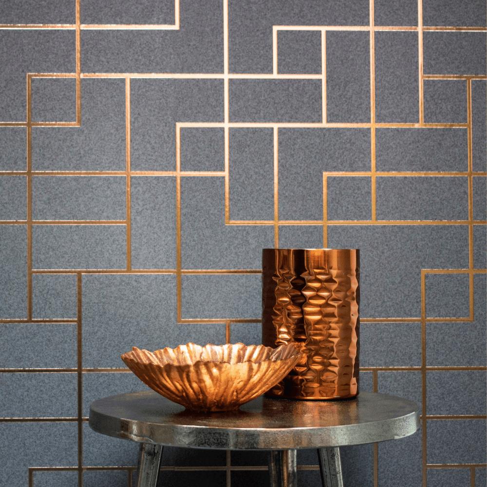 Geometric-Wallpaper-Metallic-Smooth-Textured-Apex-Triangles-Trellis-Diamonds thumbnail 35