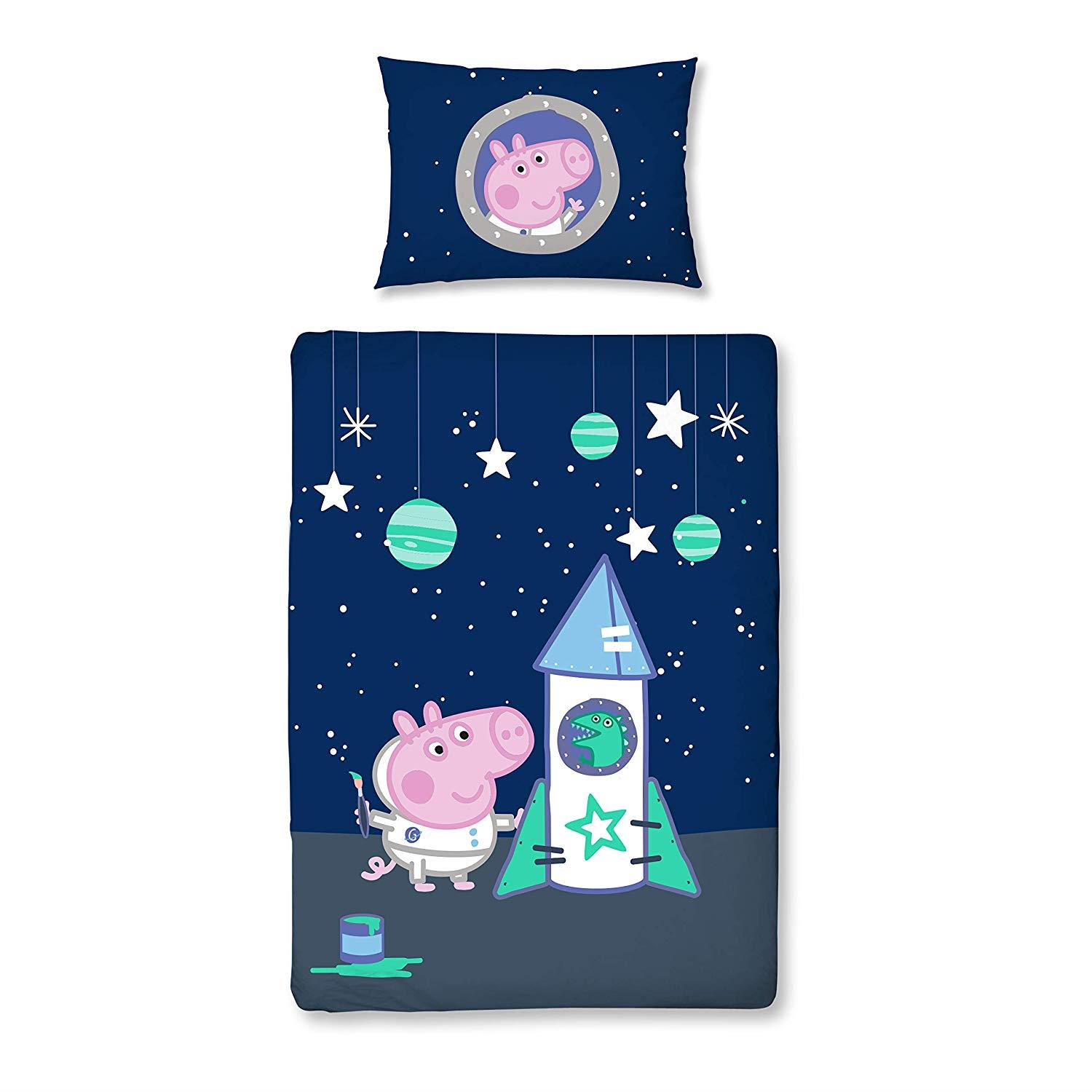 Oficial-Peppa-Pig-George-fundas-nordicas-SINGLE-doble-Ropa-De-Cama-Reversible miniatura 3