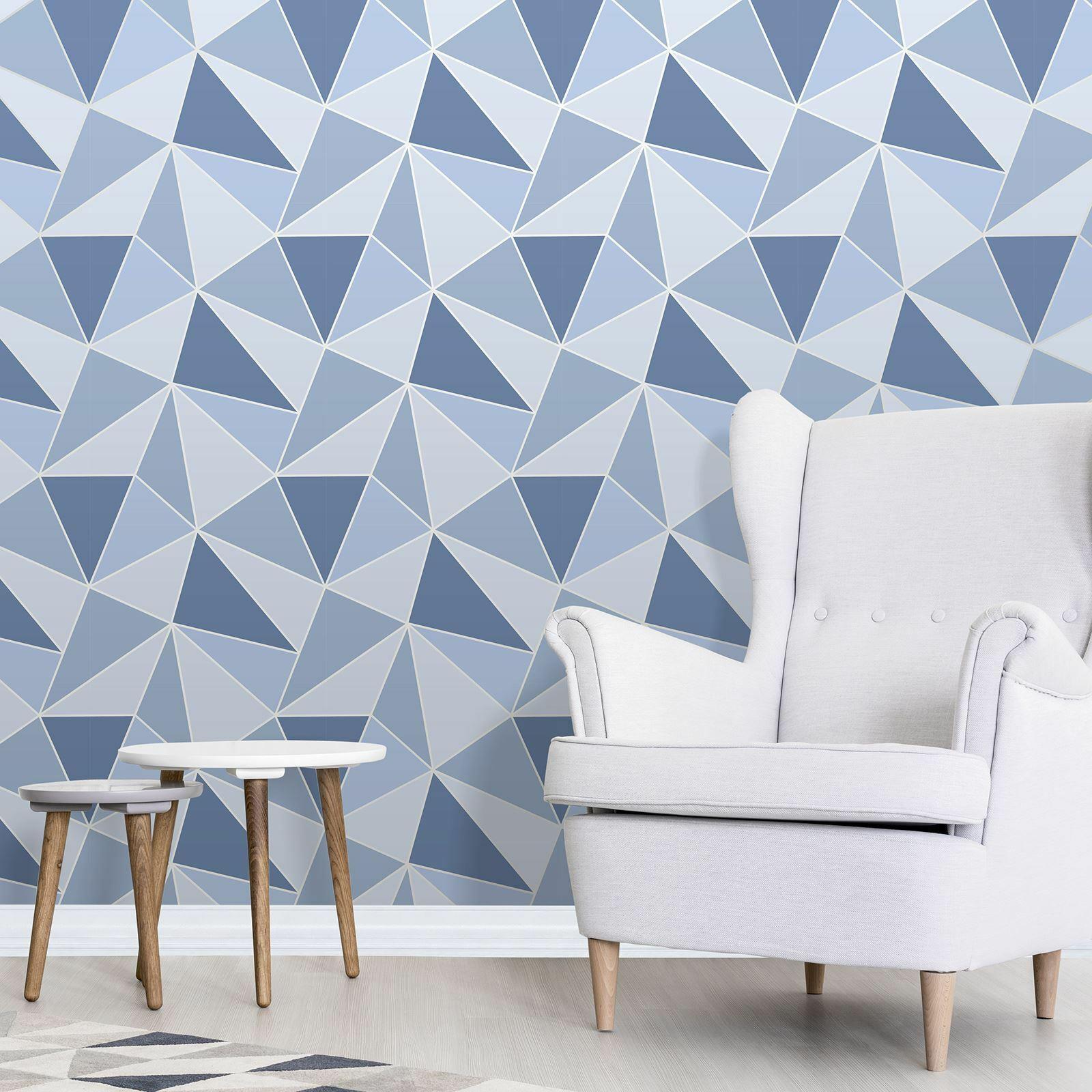 Geometric-Wallpaper-Metallic-Smooth-Textured-Apex-Triangles-Trellis-Diamonds thumbnail 3